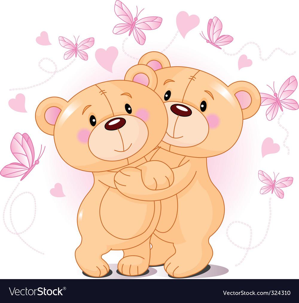 Teddy bears in love vector | Price: 3 Credit (USD $3)
