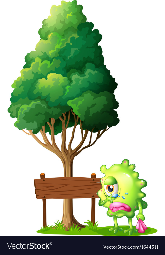 A green monster crying beside the empty wooden vector | Price: 3 Credit (USD $3)