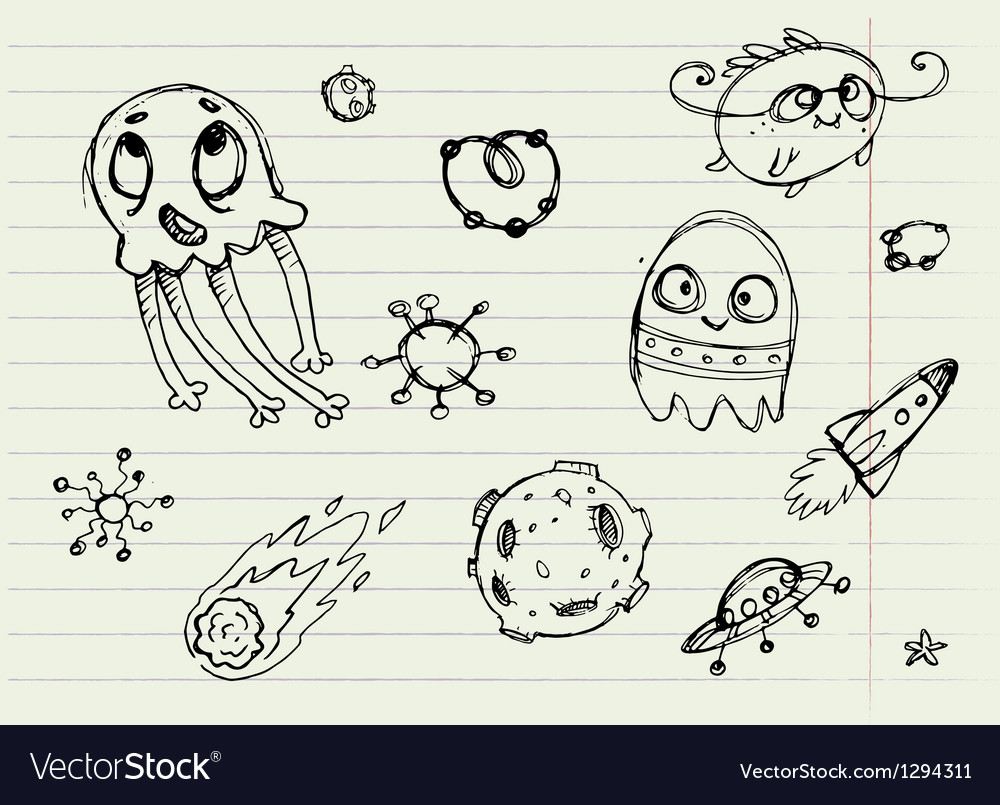 Collection of cartoon doodle monsters 4 vector | Price: 1 Credit (USD $1)