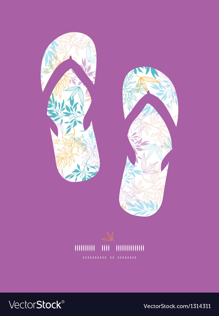Colorful pastel branches flip-flops decor pattern vector | Price: 1 Credit (USD $1)