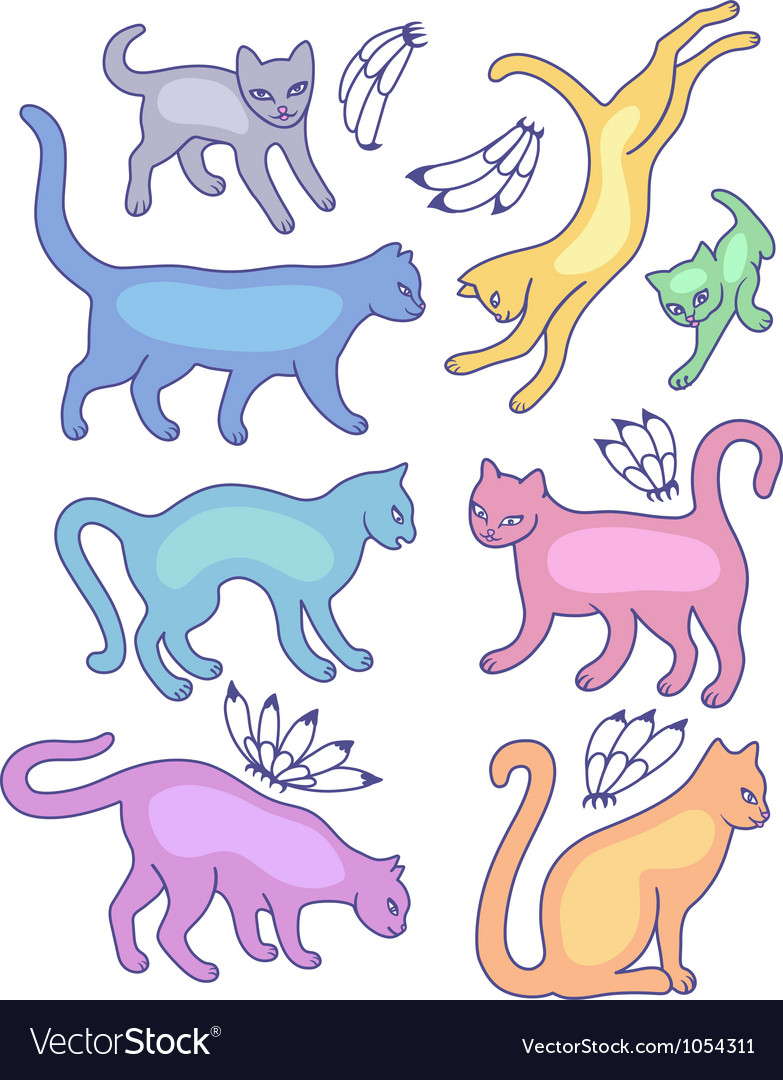 Eight cat silhouettes vector | Price: 1 Credit (USD $1)
