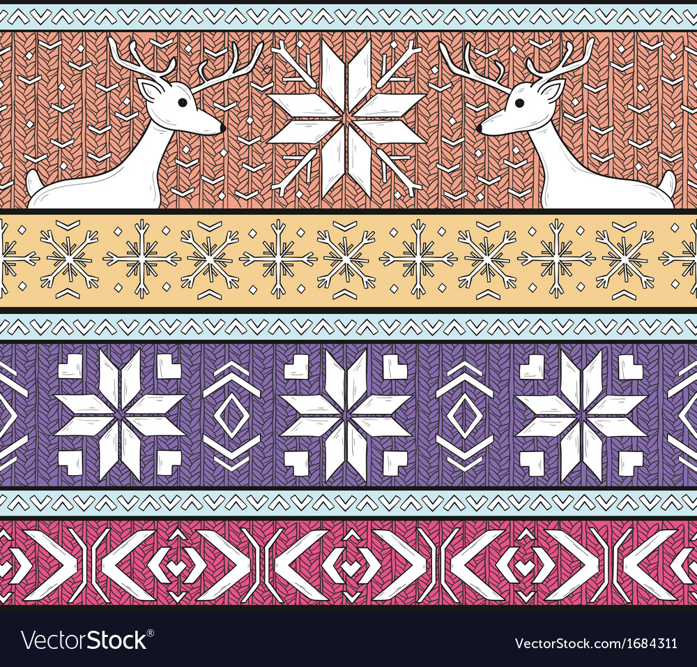 Hand drawn seamless knitted fair isle background vector | Price: 1 Credit (USD $1)