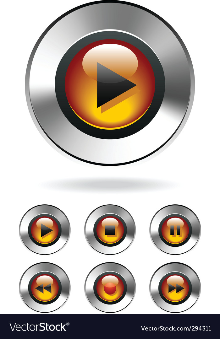 Music player buttons vector | Price: 1 Credit (USD $1)