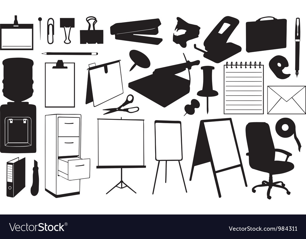 Office supplies set vector | Price: 1 Credit (USD $1)