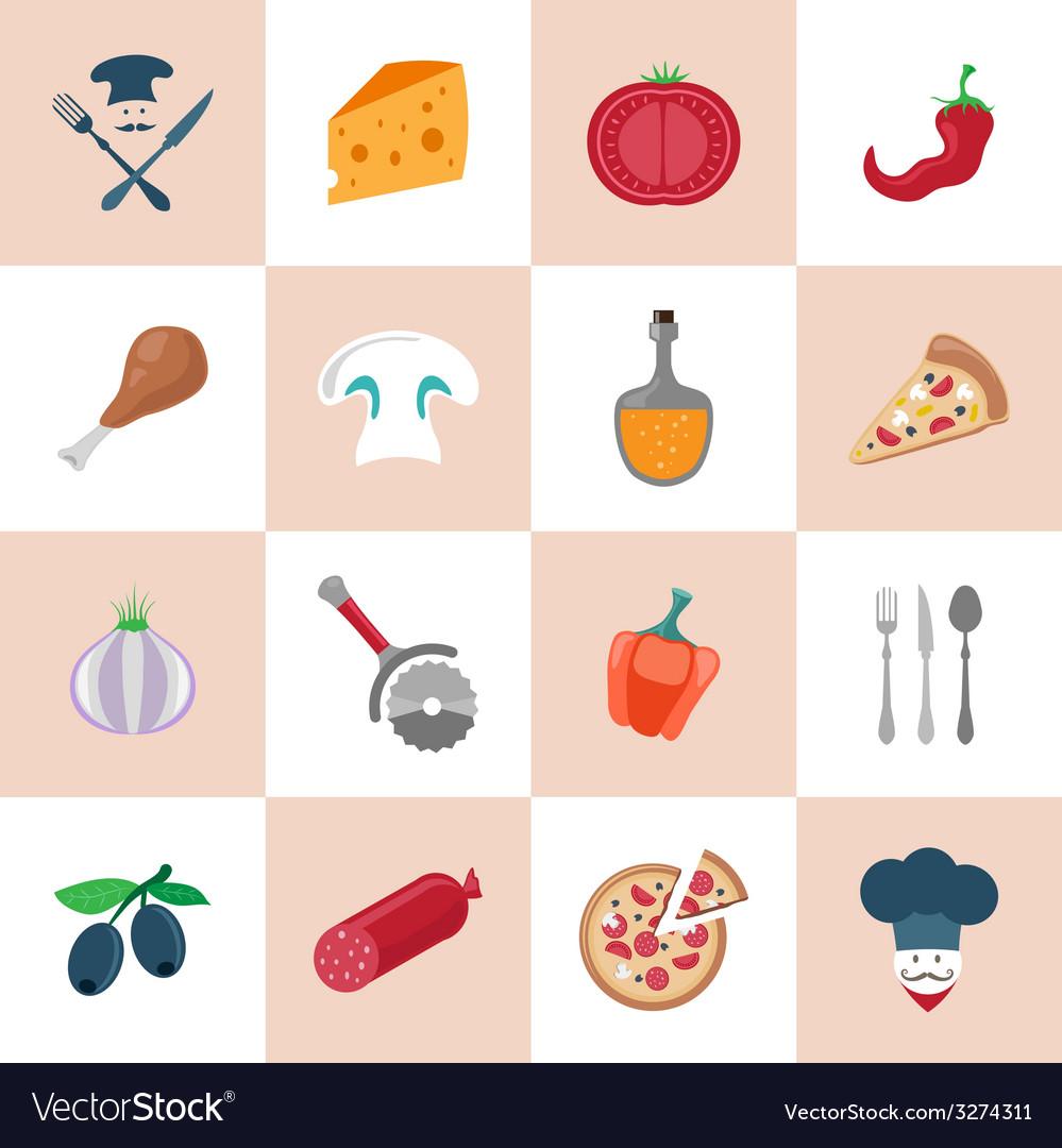 Pizzeria icons set vector | Price: 1 Credit (USD $1)