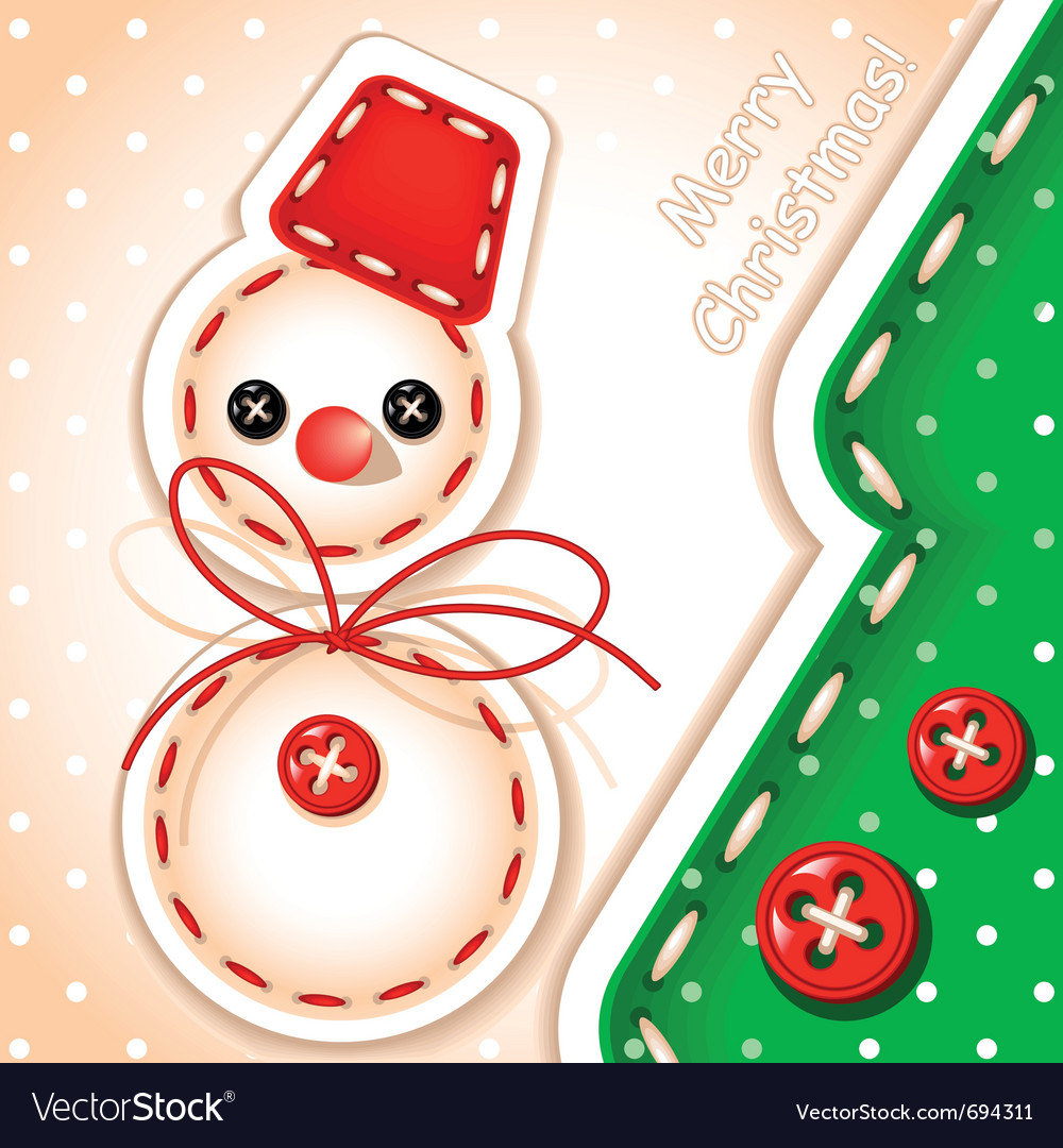 Sewing snowman and tree vector | Price: 1 Credit (USD $1)