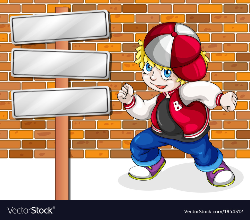 A young boy beside the empty wooden boards vector