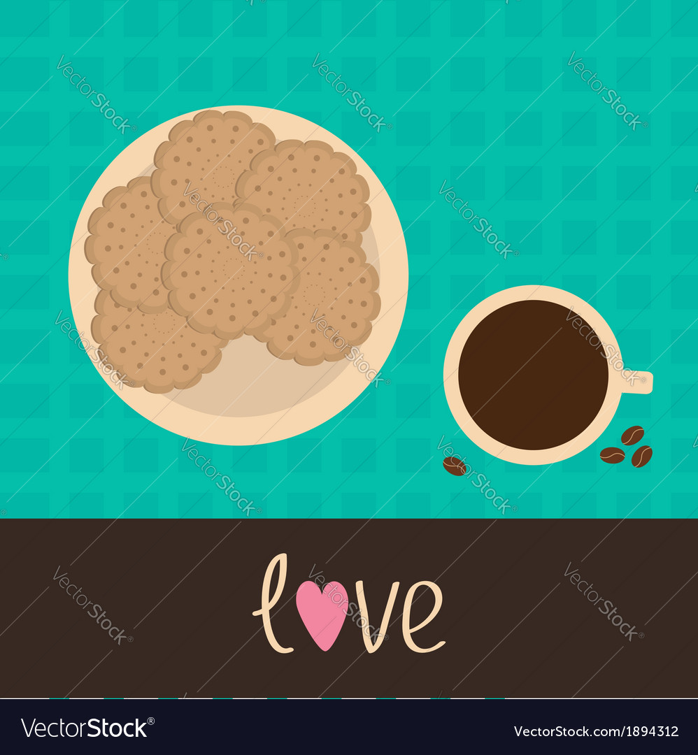 Biscuit cookie cracker on the plate and coffee vector | Price: 1 Credit (USD $1)
