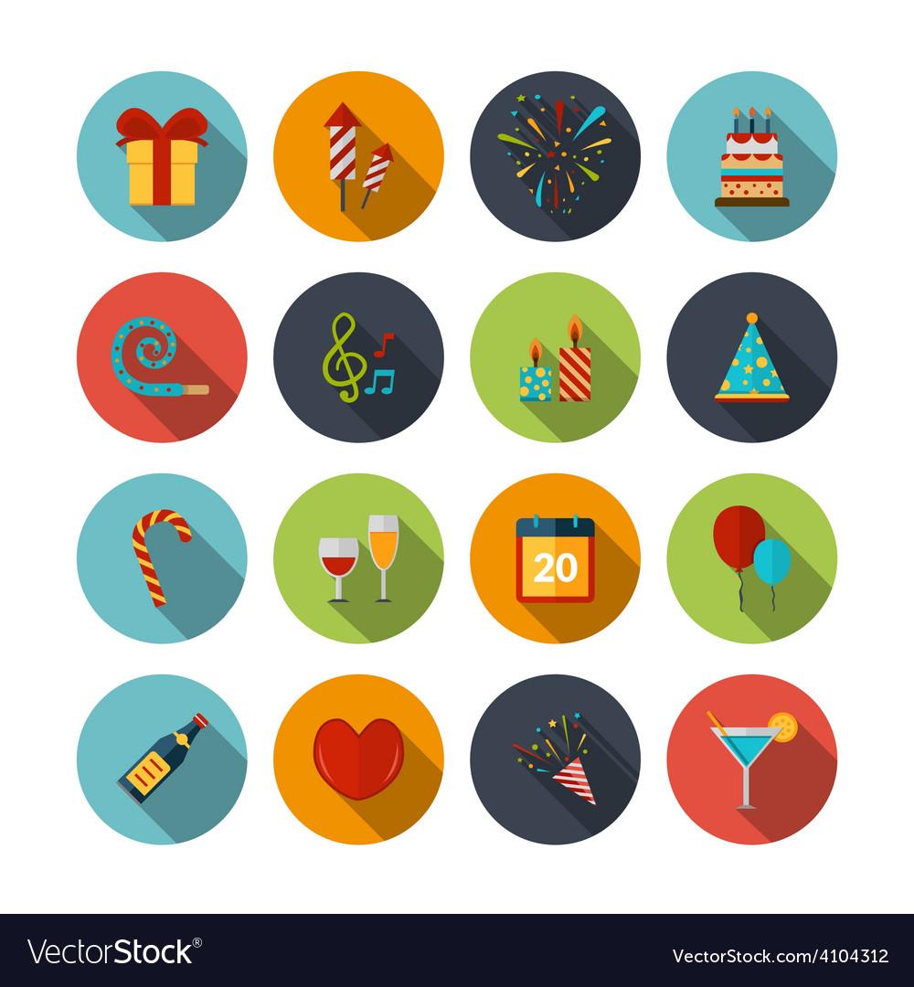 Celebration icons set vector | Price: 1 Credit (USD $1)