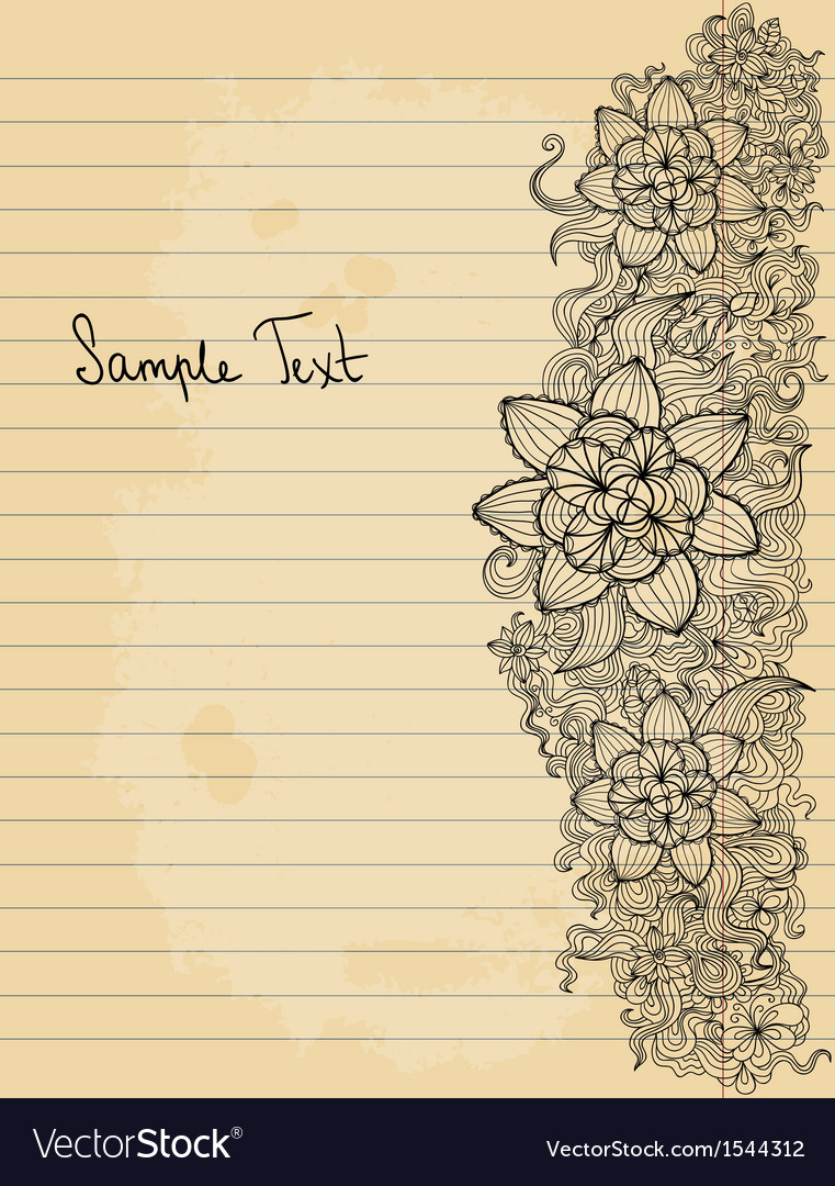 Floral doodle on paper sheet background vector | Price: 1 Credit (USD $1)