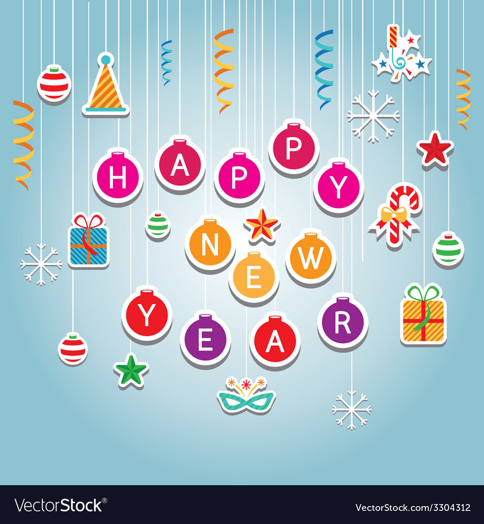 Happy new year hanging mobile decoration vector | Price: 1 Credit (USD $1)