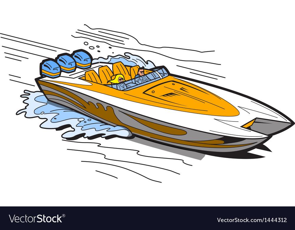 Speedboat on water vector | Price: 1 Credit (USD $1)