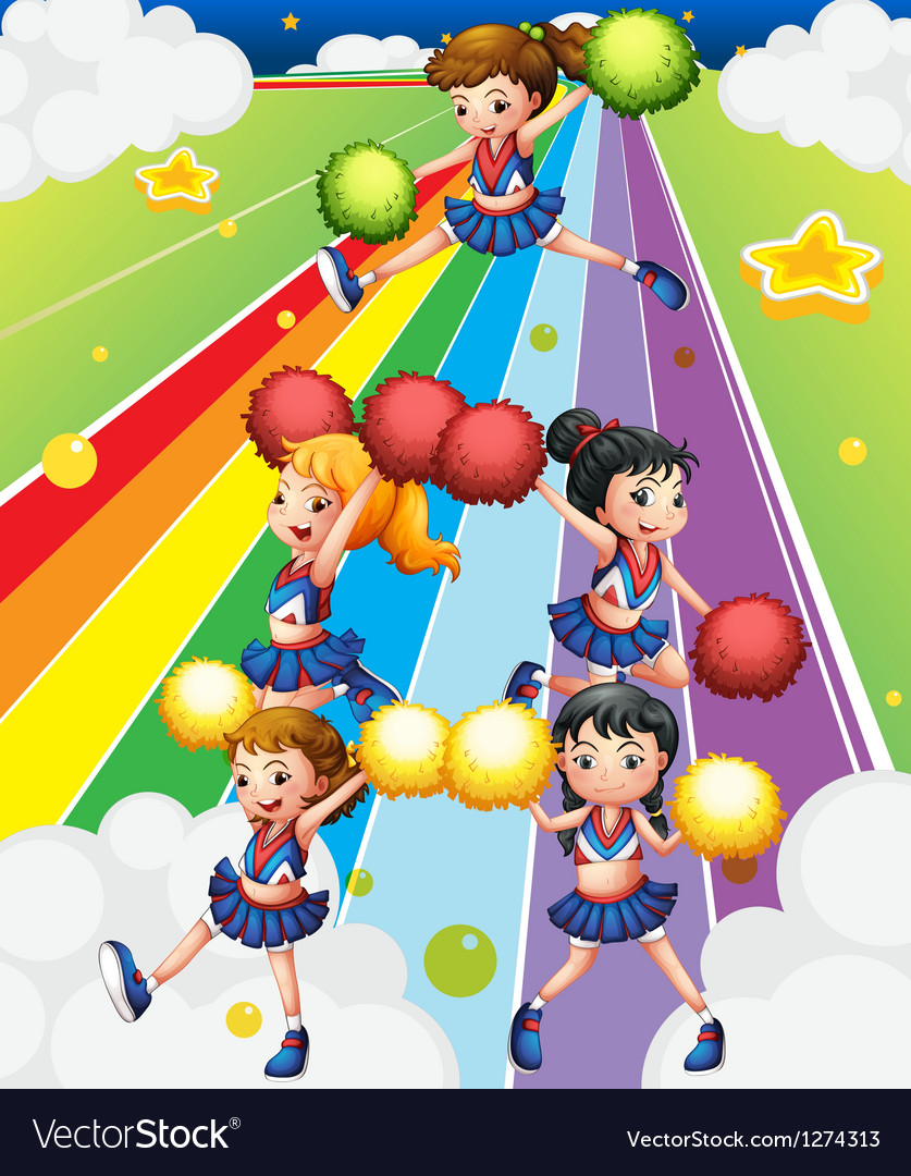 A cheering squad at the colorful street vector | Price: 1 Credit (USD $1)
