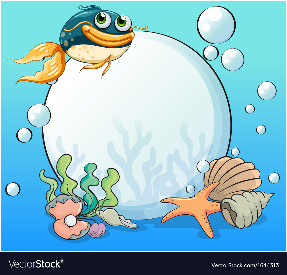 An ocean with many aquatic creatures vector | Price: 1 Credit (USD $1)