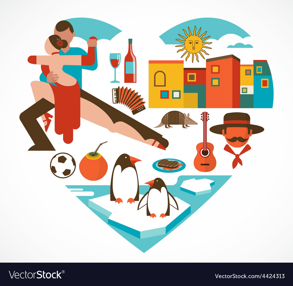 Argentina love  heart with a set of icons vector