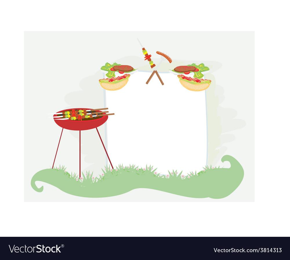 Barbecue party invitation vector | Price: 1 Credit (USD $1)