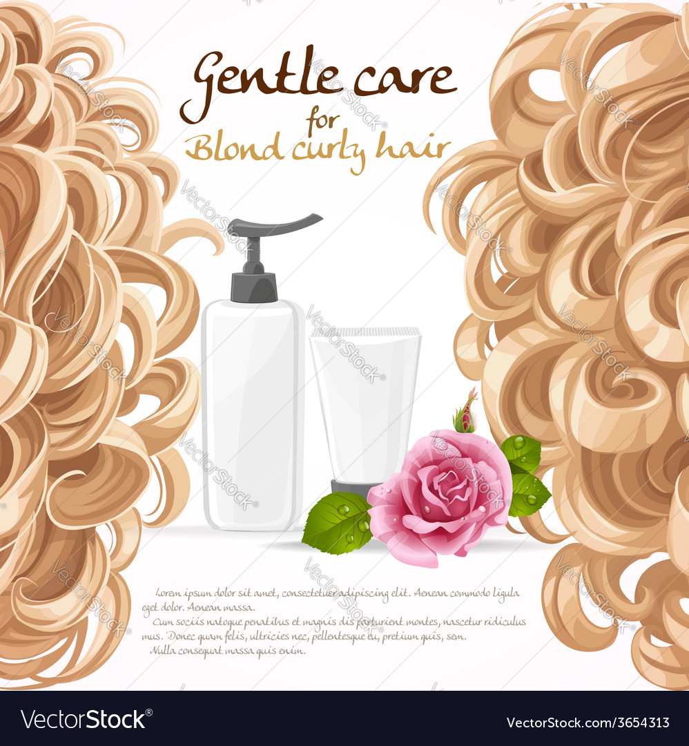 Blond curled hair care background vector | Price: 3 Credit (USD $3)