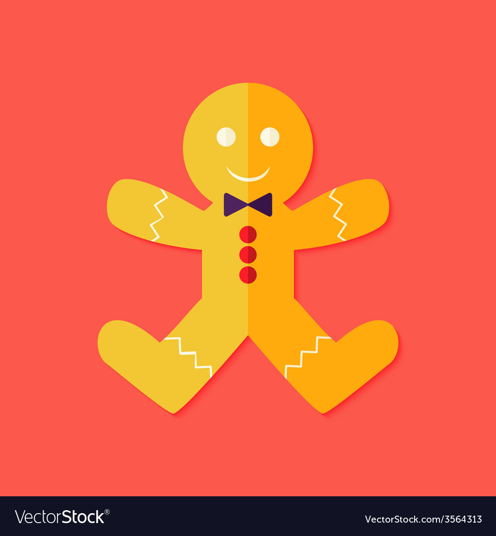 Christmas gingerbread man flat icon vector | Price: 1 Credit (USD $1)