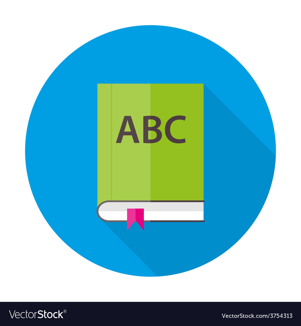 English abc book flat circle icon vector | Price: 1 Credit (USD $1)
