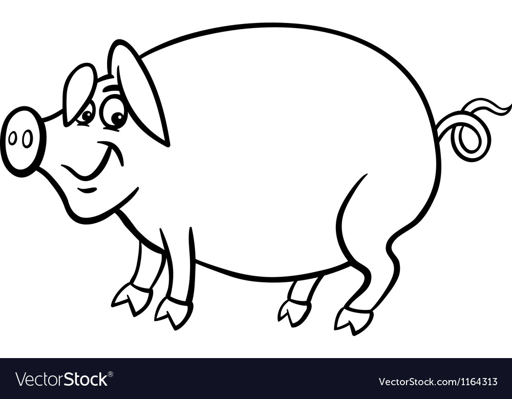 Farm pig cartoon for coloring book vector | Price: 1 Credit (USD $1)