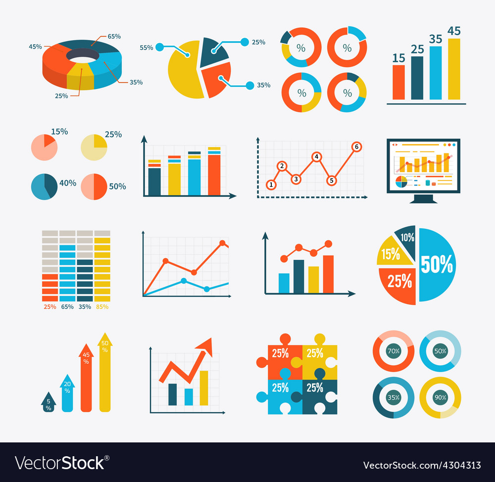 Infographic set graph and charts diagrams vector | Price: 1 Credit (USD $1)