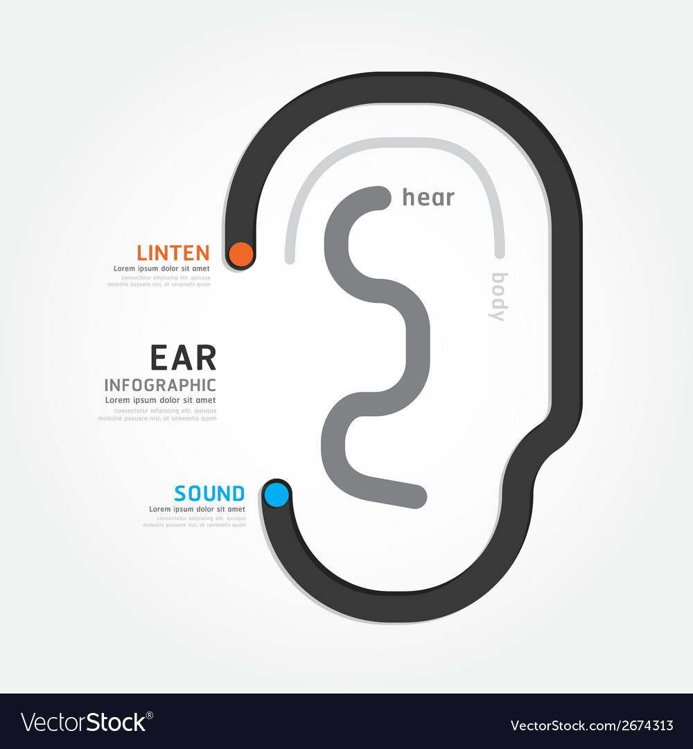 Infographic template with ear line banner concept vector | Price: 1 Credit (USD $1)