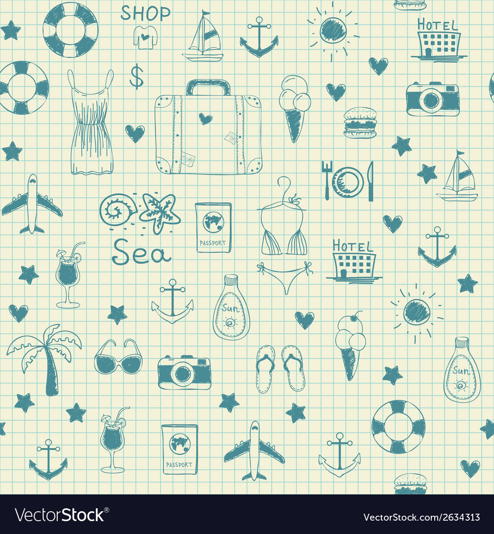On vacation summer sketch seamless pattern vector | Price: 1 Credit (USD $1)