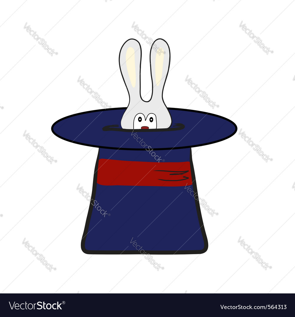 Rabbit in magic hat vector | Price: 1 Credit (USD $1)