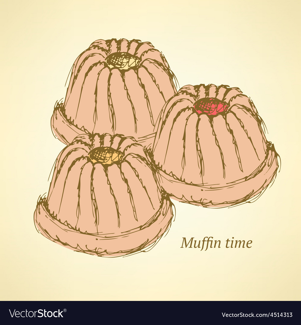 Sketch tasty muffin in vintage style vector | Price: 1 Credit (USD $1)