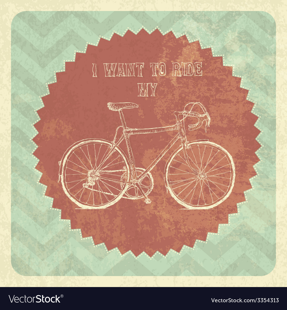 Vintage styled poster bicycle vector | Price: 1 Credit (USD $1)
