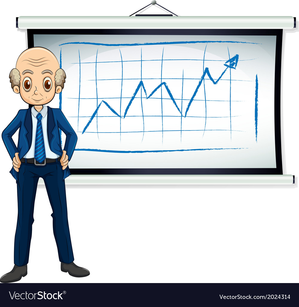 A bald old businessman in front of the whiteboard vector | Price: 1 Credit (USD $1)