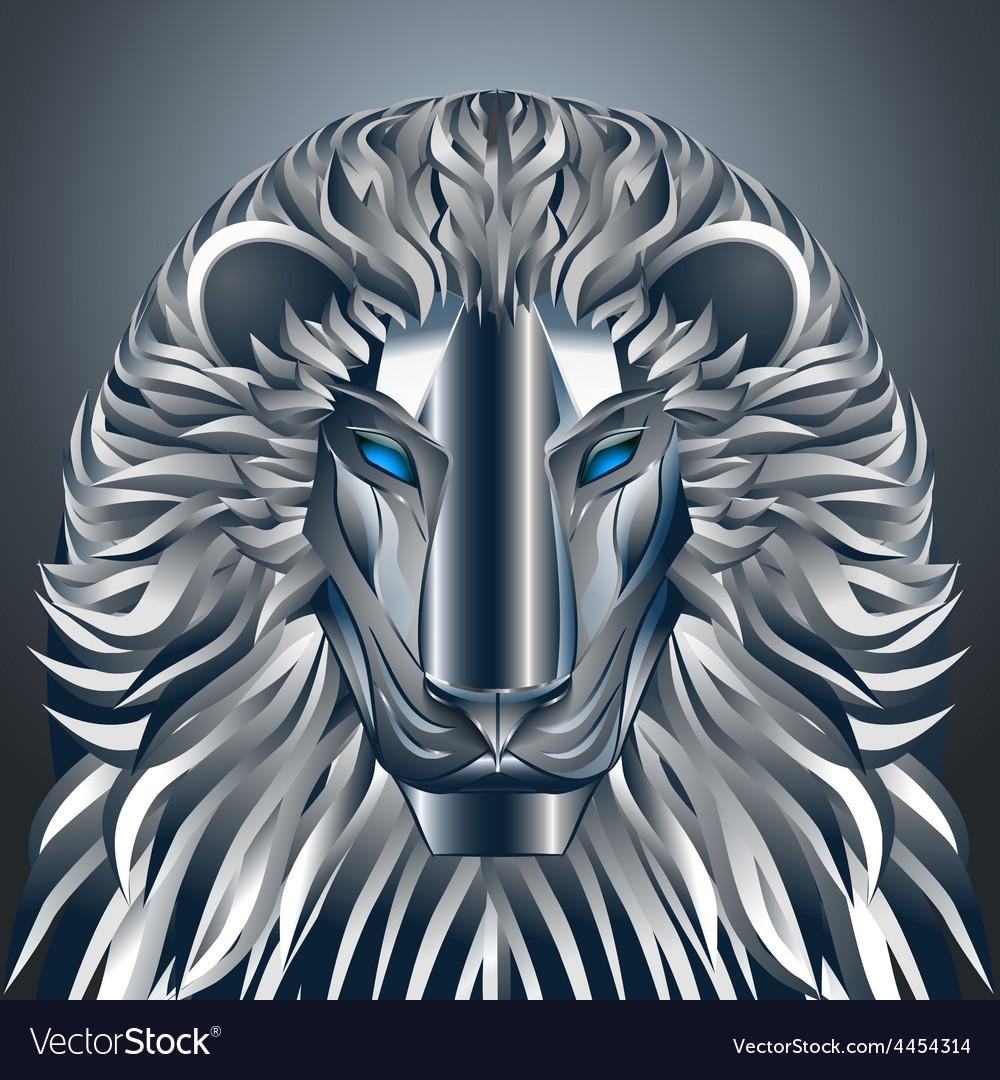 Animals lion blue technology cyborg metal robot vector | Price: 1 Credit (USD $1)