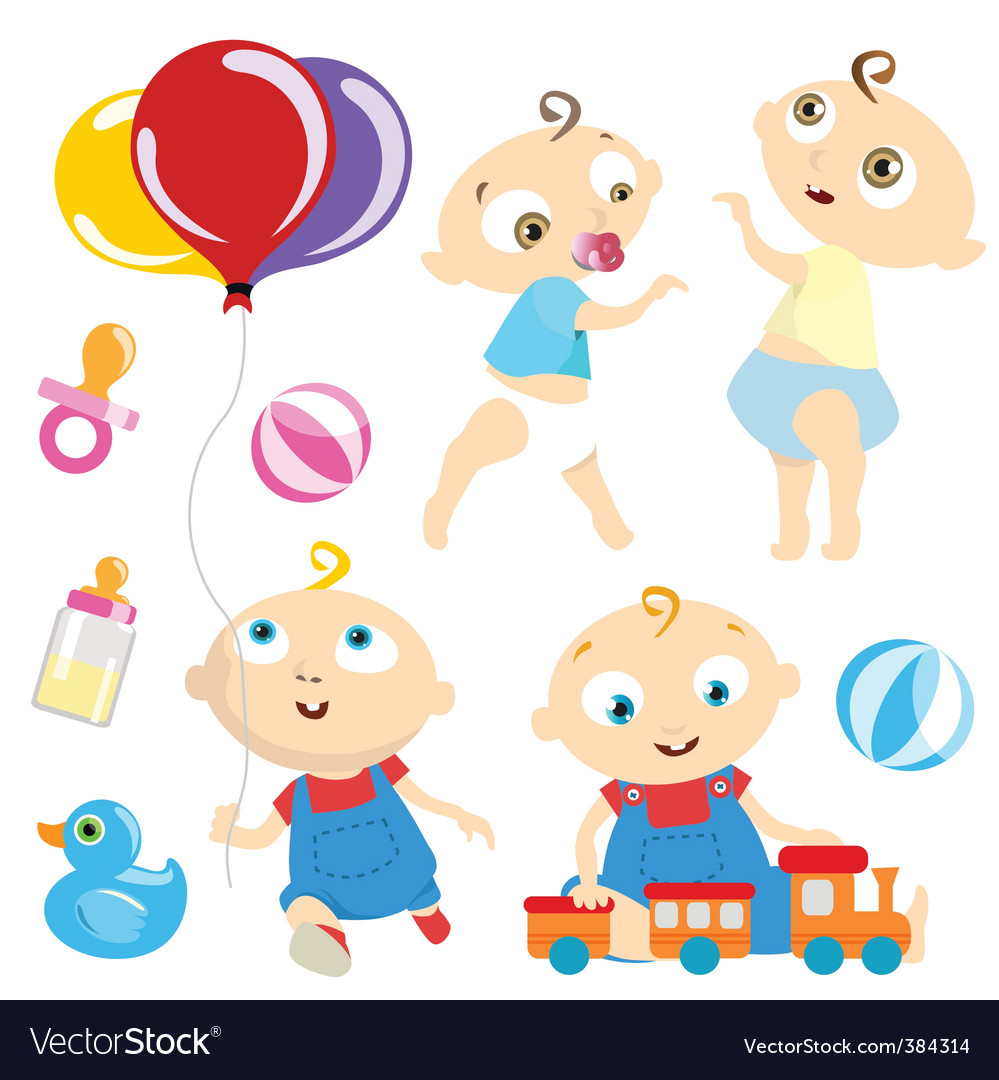 Baby with toy vector | Price: 1 Credit (USD $1)