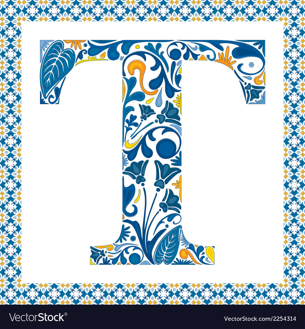 Blue letter t vector | Price: 1 Credit (USD $1)