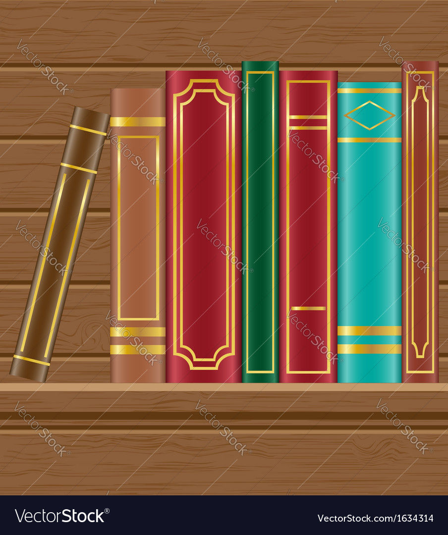 Books on wooden shelf vector | Price: 1 Credit (USD $1)