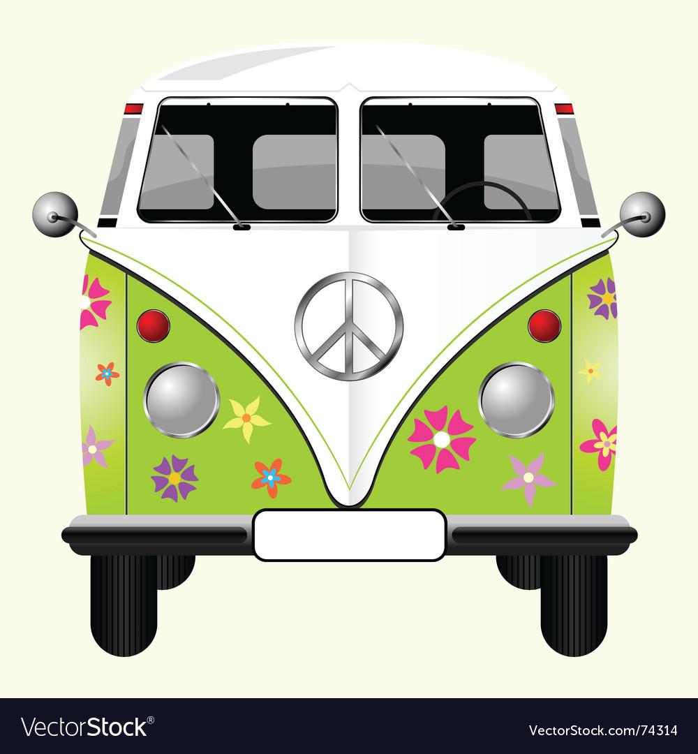 Flowered hippie van vector | Price: 3 Credit (USD $3)