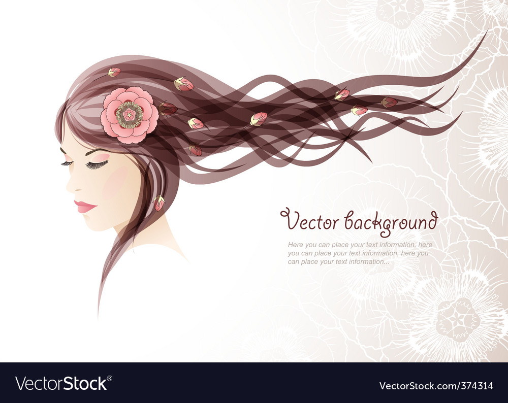 Girl with colors in hair vector | Price: 1 Credit (USD $1)