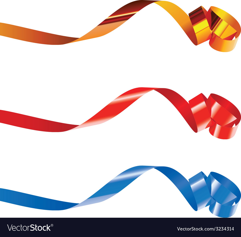 Gold red and blue curling ribbons vector | Price: 1 Credit (USD $1)