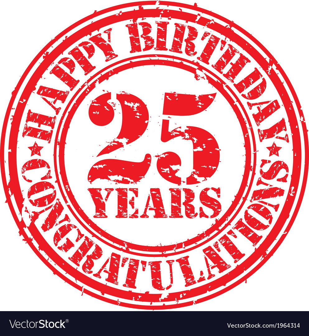 Happy birthday 25 years grunge rubber stamp vector | Price: 1 Credit (USD $1)