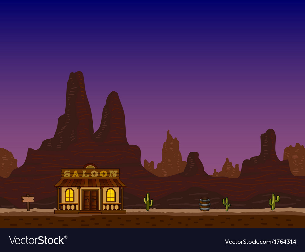 Night canyon with saloon vector | Price: 1 Credit (USD $1)