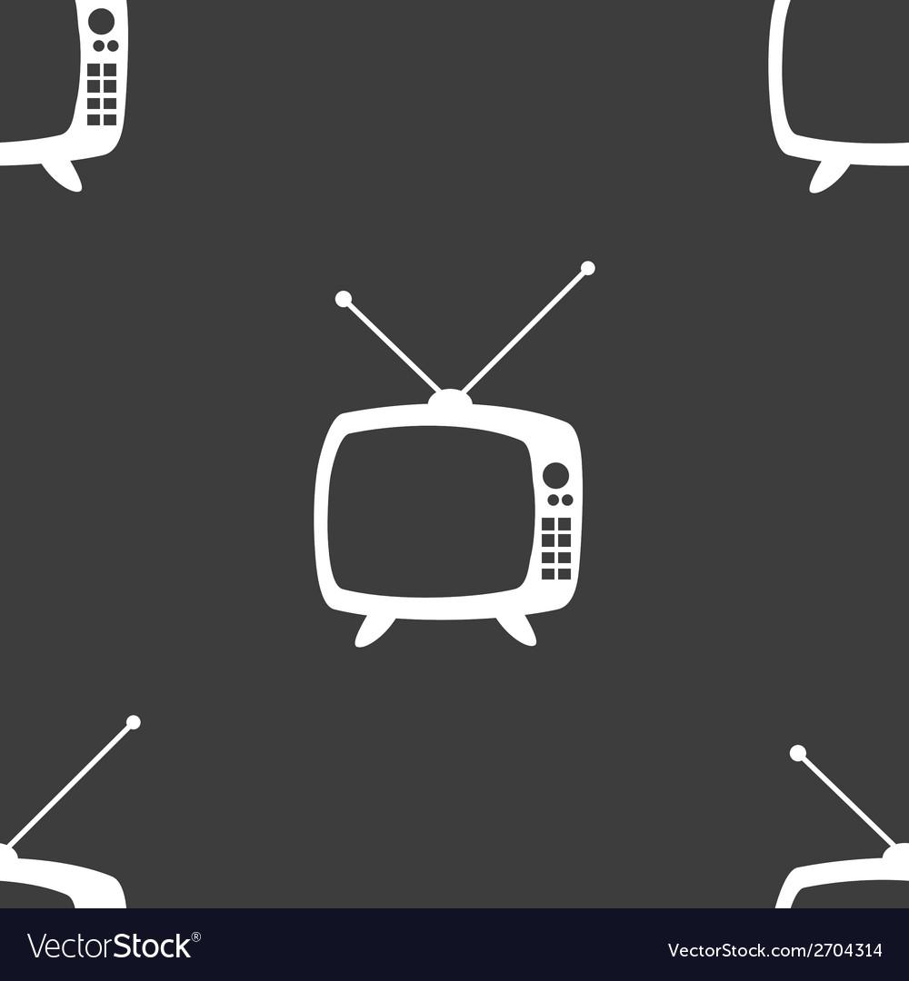 Retro tv web icon flat design seamless gray vector   Price: 1 Credit (USD $1)