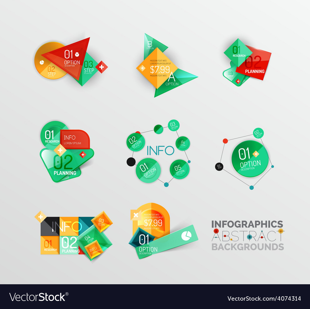 Set of geometric abstract shape infographic vector | Price: 1 Credit (USD $1)