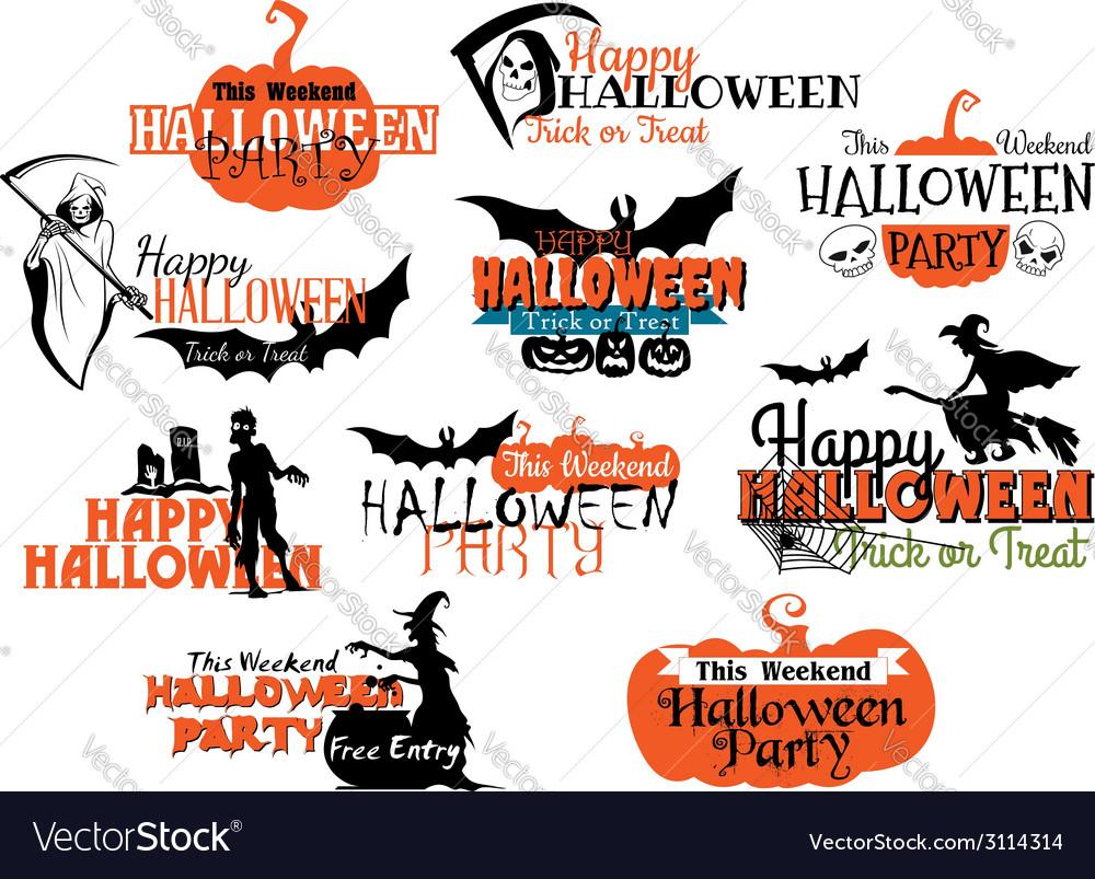 Set of happy halloween eerie designs vector | Price: 1 Credit (USD $1)