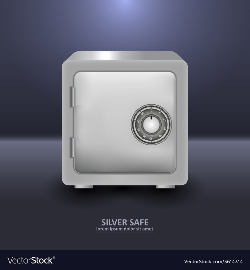 Silver security safe with combination lock vector | Price: 1 Credit (USD $1)