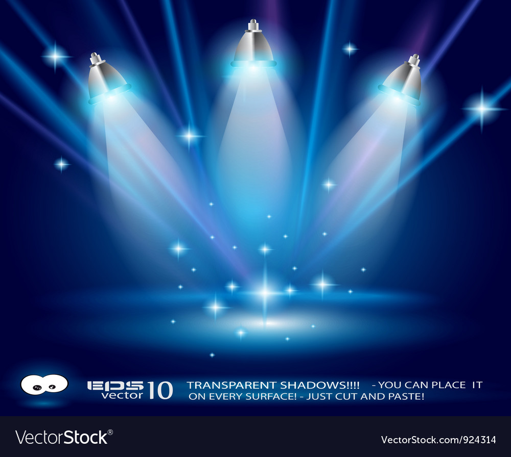 Spotlights on stage vector