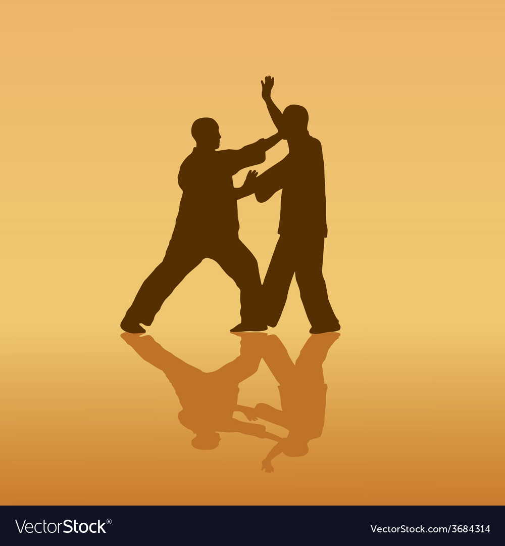 Two men are engaged in the kung fu on a yellow vector | Price: 1 Credit (USD $1)