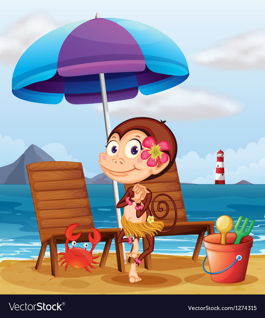 A monkey in a hawaiian attire at the beach vector | Price: 1 Credit (USD $1)