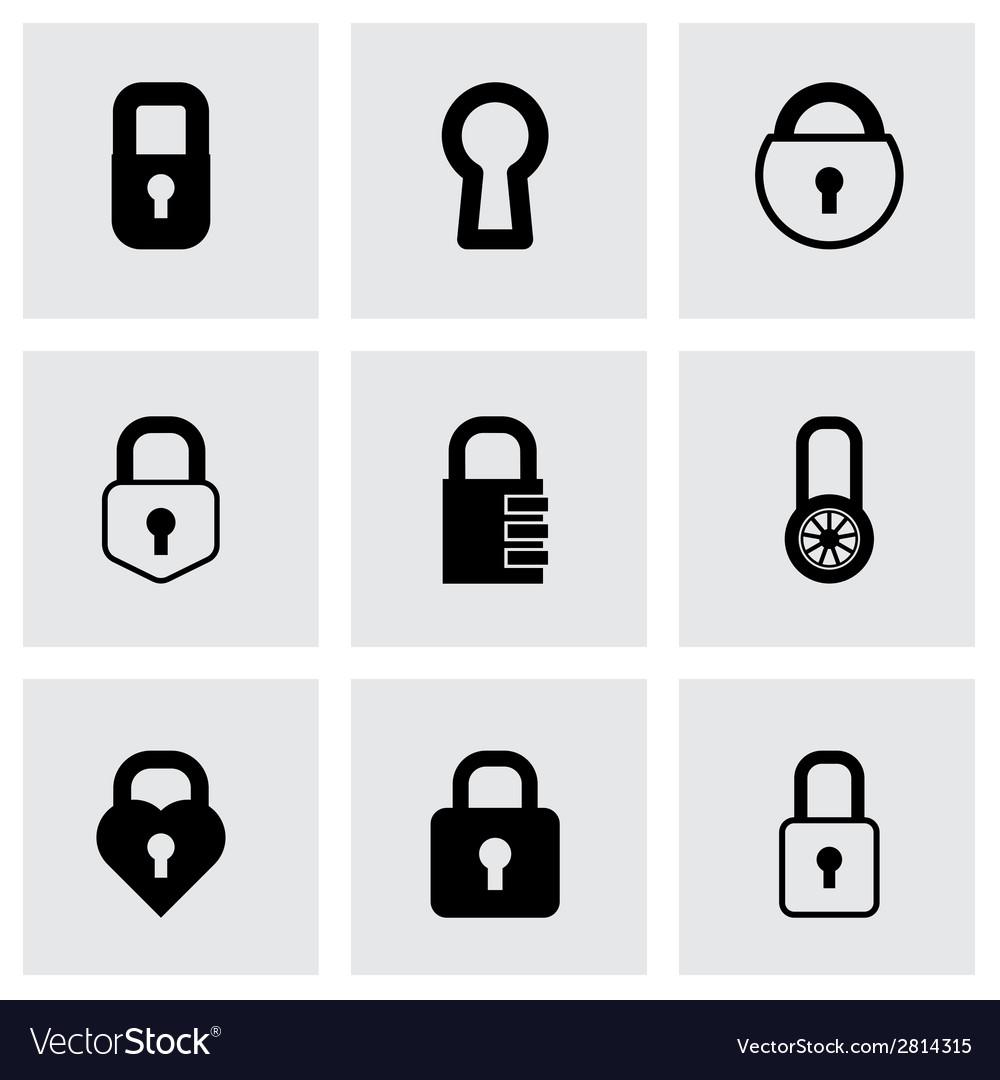 Black locks icons set vector | Price: 1 Credit (USD $1)