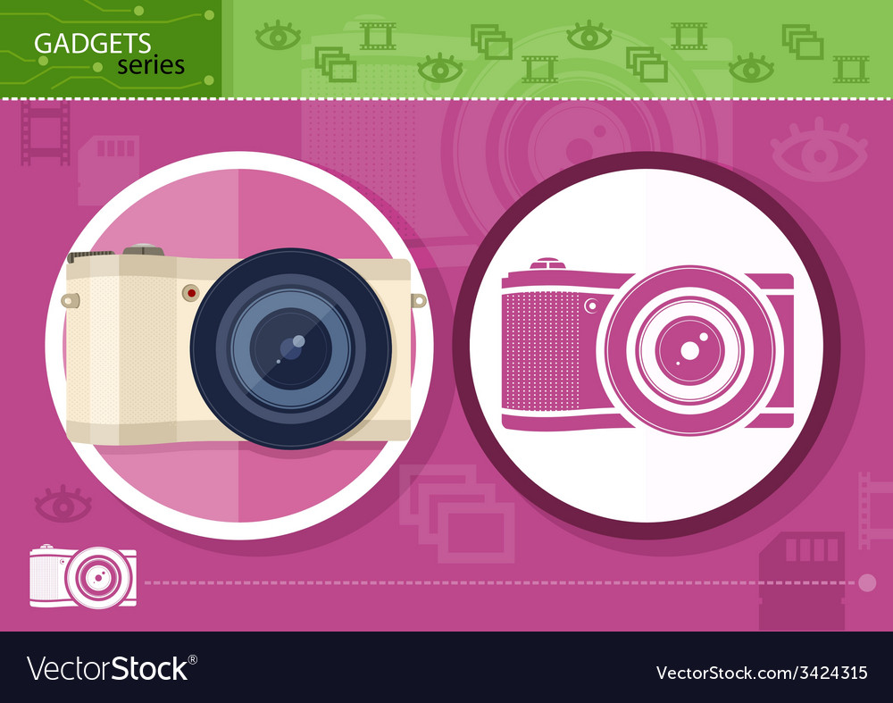 Digital camera in frame on lilac background vector | Price: 1 Credit (USD $1)