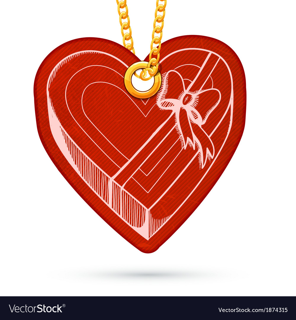 Heart shaped present box label tag hanging on vector | Price: 1 Credit (USD $1)